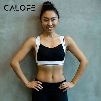 DCCKKFQ CALOFE Sports Bra Patchwork Back Cross Padded Push Up Yoga Breathable Seamless Crop Top Stretch Athletic Gym Vest Women Fitness