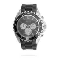 Black Silicone Fashion Watch with Silver Tone Accents