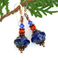Cobalt Blue Handmade Earrings, Orange Czech Glass Swarovski Artisan Dangle Jewelry