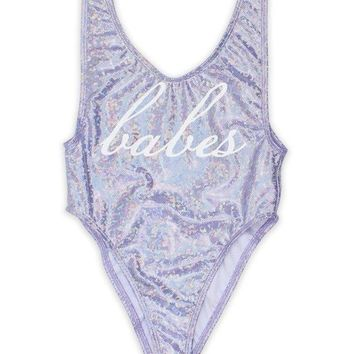 BeachBabes Holographic Glitter One Piece Swimsuit in Purple