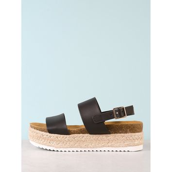 Double Band Cork Footbed Espadrille Platform Wedge Sandal BLACK