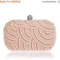 SPRING 15%OFF Blush clutch with pearls & crystals ,Beaded evening bag,Party Gifts Bridesmaids Purse,Pearl Evening Bags,Wedding Bags,Occasion
