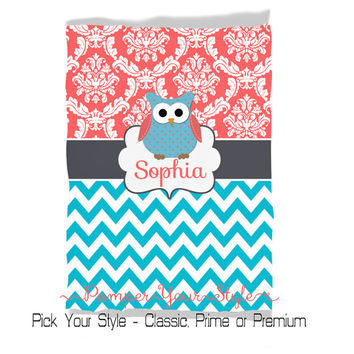 Unique Baby Blanket - Coral and Turquoise Blanket - Plush Owl Blanket - Baby Gift - Toddler Birthday - Pick Your Size and Pick Your Style