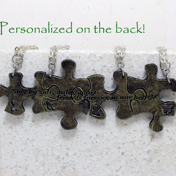 Personalized Puzzle Pieces necklaces Set of 4 friendship necklaces with Quote Side by side