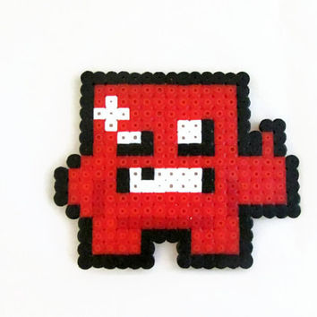 Super Meat Boy Magnet , hama perler bead fridge magnet , Video game pixel art
