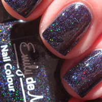 "Nail polish - ""Dark Crystal"" micro holographic glitter in a black jelly base - new 12ml bottle"