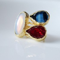 Triple Quartz crystal and stone circle GOLD RING | moonfairy - Jewelry on ArtFire