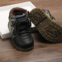 Leather men and women casual cotton boots