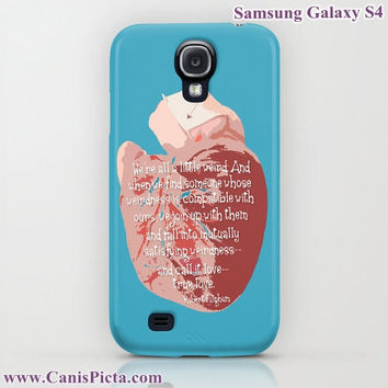 "Anatomical Heart ""Weird Love"" Graphic Print iPhone (5, 4, 4S, 3, 3GS) OR Samsung Galaxy S4 Case - Robert Fulghum Quote, Blue, Red"