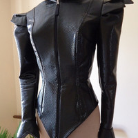 Katniss inspired costume jacket and fire cape Chariot Tribute Parade gloss black PVC vinyl costume corset tunic bodice size small FINAL SALE