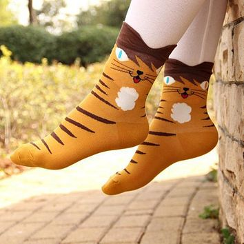 1 Pair Women Lady Girl 3D Animals Striped Cartoon Socks Cat Footprints Cotton Leg Warmers