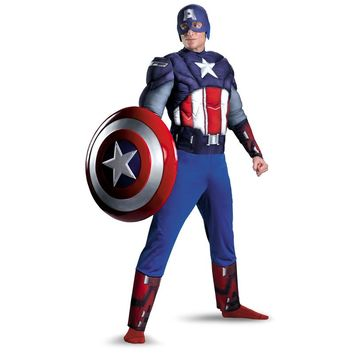 On Sale Adult Men Captain America Muscle Chest Avengers Costume Marvel Superhero Fantasy Movie Fancy Dress Cosplay Clothing