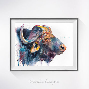 African buffalo watercolor painting print, African buffalo art, animal art, animal watercolor, illustration painting, safari art, art print