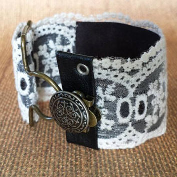 Adjustable - Offwhite - Lace with Black Trim - Victorian Jewelry - Steampunk - Overall Buckle Bracelet - Wide Cuff