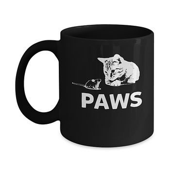 Jaws Aka Paws Cute Cat Kitten And Mouse Coffee Mug