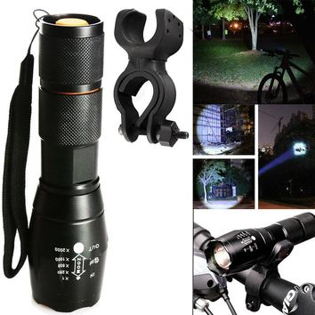 5000LM Zoom T6 LED 18650 Flashlight Focus Torch Bike Light+Cycle Clip