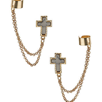 Double Cross Ear Cuff - Earrings -Jewellery- Accessories - Topshop
