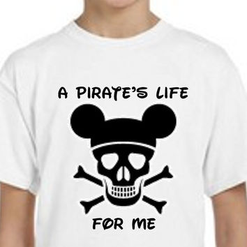 Mickey Mouse // Pirate's Life For Me // Skull Mickey // Skull // Boys Tee Shirt // Multi Colors and Sizes Available