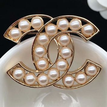 CHANEL Fashion new more pearl brooch accessories women Golden