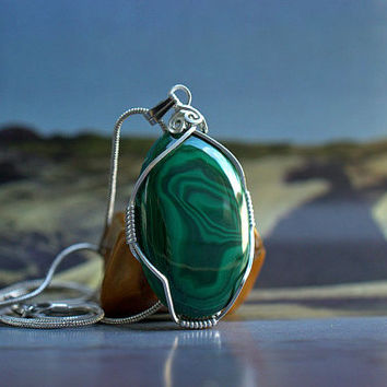 Oval shape Malachite pendant silver wire wrapped with a silver plated necklace