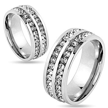 6mm Double Lined CZ Center Stainless Steel Wedding Band Ring