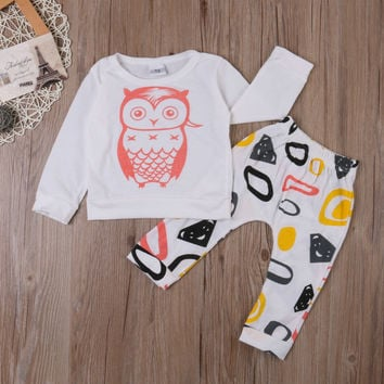Baby Cotton Clothes Newborn Toddler Tops T-shirt Long Pants Trousers Outfits Set