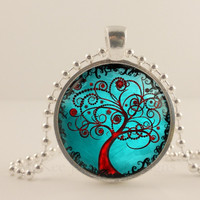Teal and red Tree Of Life glass and metal Pendant necklace Jewelry.