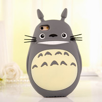 3D My Neighbor Totoro Cat Cartoon Silicon e Cover Case for iPhone 4S 5S 6 6 Plus