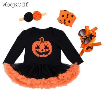 New Halloween Baby Costumes Cloth Infant Toddler Baby Girls My First Halloween Outfits Newborn Halloween pumpkin Romper Set