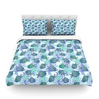"""Kess InHouse Julia Grifol """"My Colorful Fishes"""" Blue Teal Cotton Duvet Cover, 88 by 104-Inch"""