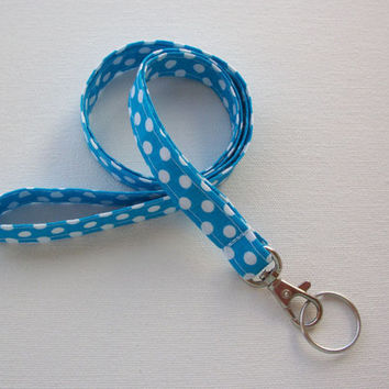 Lanyard ID Badge Holder - NEW THINNER design - White Polka Dots on Blue - Lobster clasp and key ring