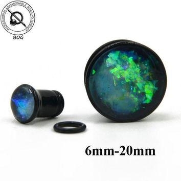ac DCCKO2Q BOG Black Acrylic Single Flare Ear Tunnel Plugs With O Ring Like Opal Stone Crystal Earlet Expander Gauges Piercing Body Jewelry