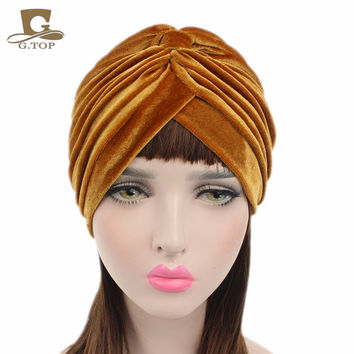 New luxury soft Velvet turban velour Hair cover headwrap Hijab Hat 16 colors