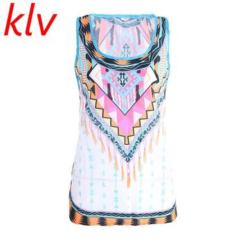 KLV 2017 New Summer Style Women Sexy Tops Boho Round Neck Sleeveless Vintage Tribal Print Fitness Casual Tank Tops