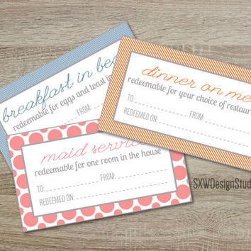 Couples Romantic Coupons for Valentine's Day or Anniversary - Printable DIY - Instant Download - Sexy Love Vouchers Hugs Kisses Hearts