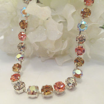 swarovski crystal bridal, bridesmaid necklace in pinks and earthy colors.