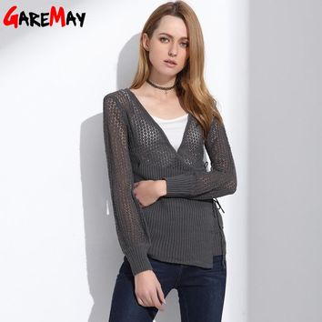 Female Hollow Out Cardigan Pull Sexy V Neck Long Sleeve Lace Up Sweaters Women Knitted Clothing Black Jumper