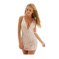 Sexy Women Deep V Neck Sequins Bodycon Dress Club Cocktail Party Dresses With Paillette