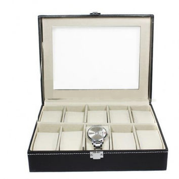 Fashioncity Fashion 10 Slots Watch Jewelry Display Case Box Storage PU Leather Women NewFC13214 = 1645691716