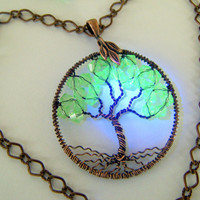 Radioactive Tree of Life Necklace Vaseline Beads Glow under Black Light