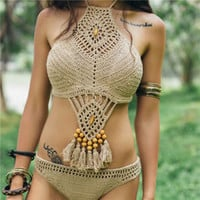 New Arrival Knitted Bikini Two Pieces Swimwear Tassels Beach Party Swimsuit