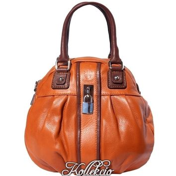 Italian Tan Genuine Leather Handbag with Long Adjustable Strap