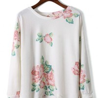 Dip Dye Floral T-shirt in White