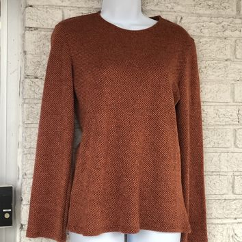 Solid Long Sleeve Round Neck Top