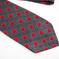Red Polka Dots and Charcoal Gray Necktie, 100% Silk by Stafford, Mens Fashion Accessory, Office Wear, Father's Day Gift, Boyfriend Gift