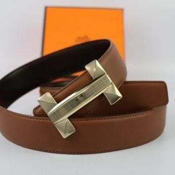 HERMES Woman Men Fashion Smooth Buckle Belt Leather Belt-59