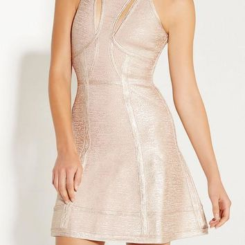 Foil Print Halter Bandage Mini Dress
