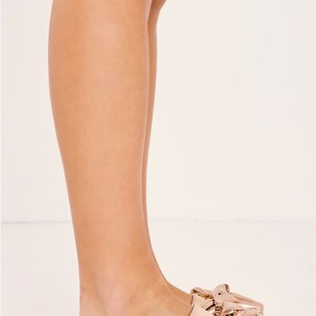 MINNIE ROSE GOLD FAUX LEATHER BOW SLIDERS