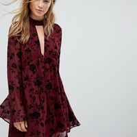 Honey Punch Swing Dress In Velvet Floral Burnout at asos.com