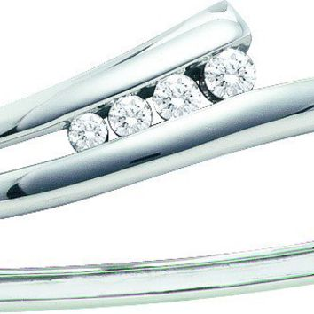 14kt White Gold Womens Round Diamond Graduated Journey Bangle Bracelet 3/8 Cttw